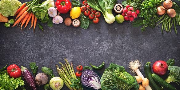 istock Healthy food concept with fresh vegetables and ingredients for cooking 1128687134