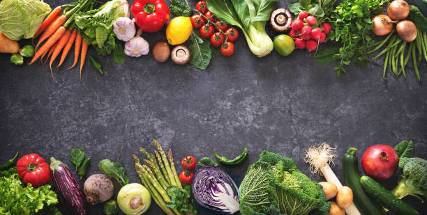 healthy food concept with fresh vegetables and ingredients for cooking - kapustowate zdjęcia i obrazy z banku zdjęć