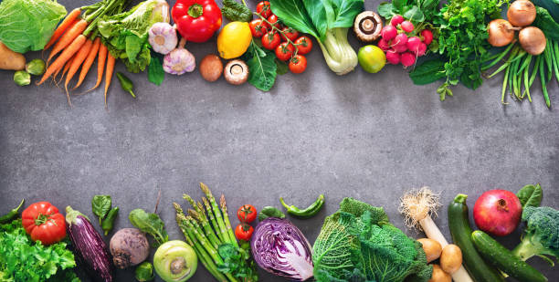 Healthy food concept with fresh vegetables and ingredients for cooking stock photo