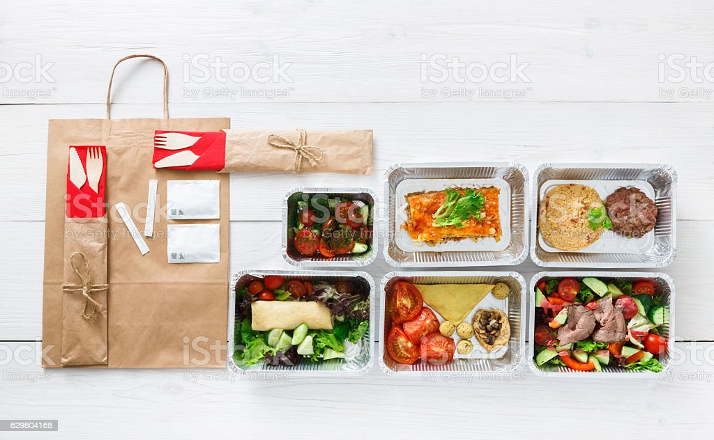 Healthy food delivery daily meals top view copy space fotografa healthy food delivery daily meals top view copy space foto de stock libre de forumfinder Choice Image