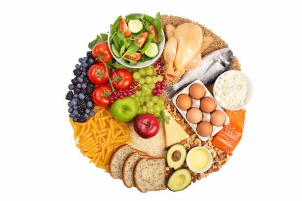 diagrama de alimentos saludables - carbohidrato fotografías e imágenes de stock