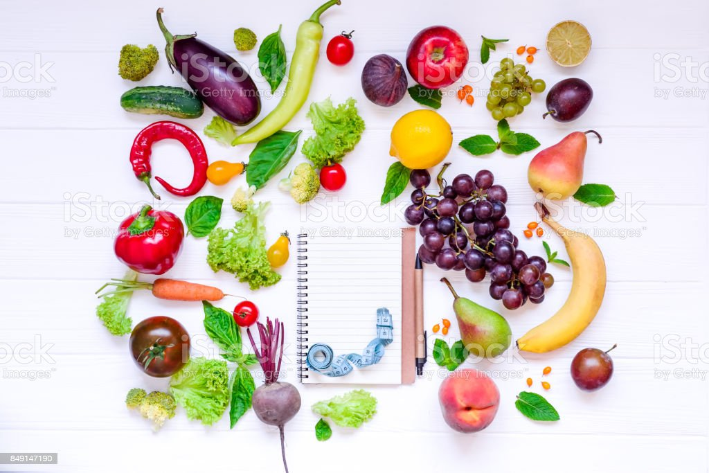 Healthy Food Diet Eating Detox Background Different Fruits