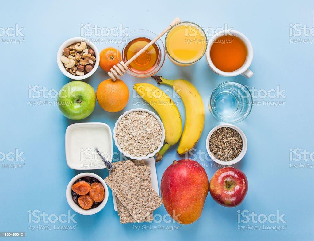 Gesundes Essen Faser Quelle Frühstück Haferflocken Honig Obst Äpfel ...