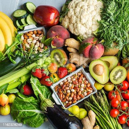 istock Healthy food for balanced alkaline diet concept 1162328249