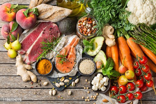 istock Healthy food for balanced flexitarian mediterranean diet concept 1159204275