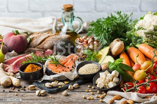 istock Healthy food for balanced flexitarian mediterranean diet concept 1159204276