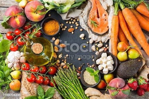 istock Healthy food for balanced flexitarian mediterranean diet concept 1159204335