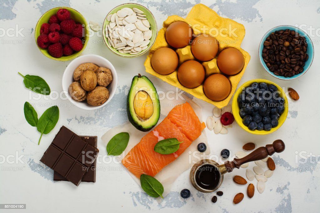Healthy food for brain and good memory stock photo