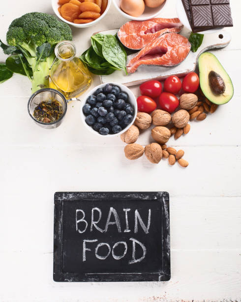 Healthy food for brain and memory. stock photo