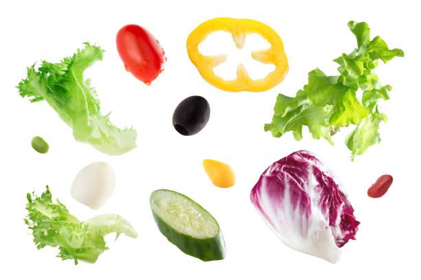 gesunde lebensmittel, frisches gemüse salat - wachtelei stock-fotos und bilder