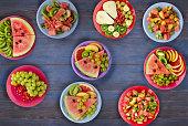 healthy food . fruit salads on the table. Vegan food