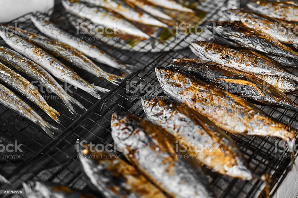 Healthy Food. Grilled Fish On Grill. Meal. Seafood Eating. Nutrition stock photo
