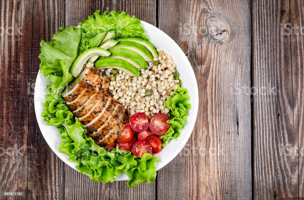 healthy food. grilled steak, avocado, cereal, healthy lifestyle, copy space, top view, rustic style. healthy lifestyle – zdjęcie