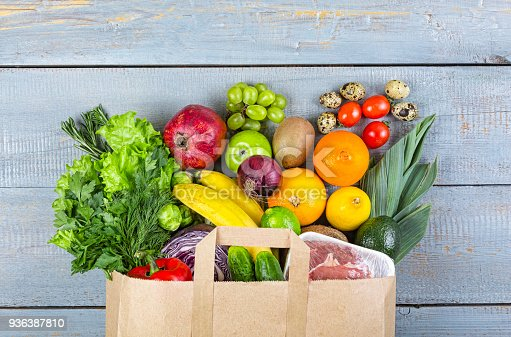 istock healthy, food, grocery, background, basket, bag, vegetables, fish, balanced, purchase, 936387810