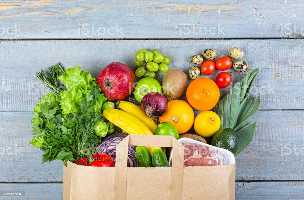 healthy, food, grocery, background, basket, bag, vegetables, fish, balanced, purchase, stock photo