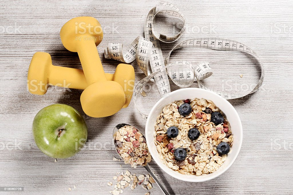 healthy food  healthy lifestyle concept with exercise weights stock photo