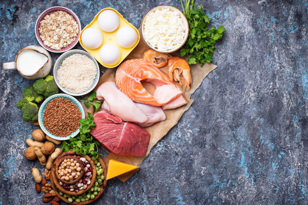 Healthy food high in protein stock photo