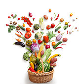 Studio photography of different fruits and vegetables isoleted on white backdrop, top view. High resolution product.