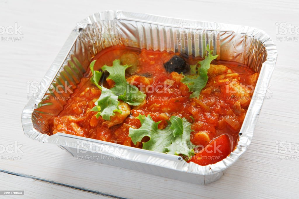 Healthy food in boxes, diet concept. stock photo