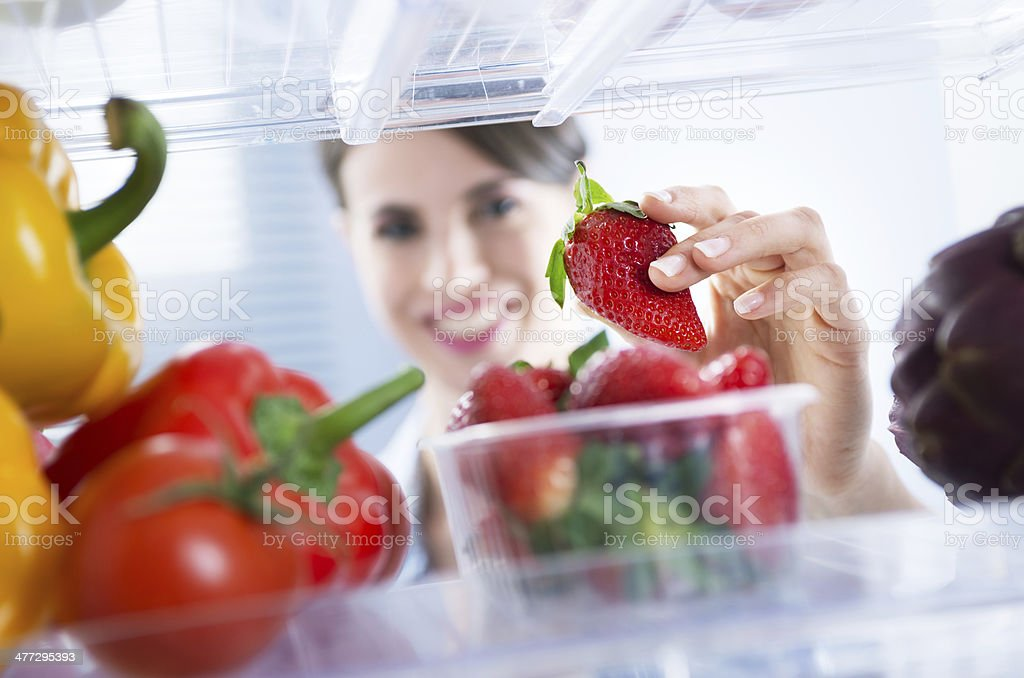 Healthy food in the refrigerator stock photo
