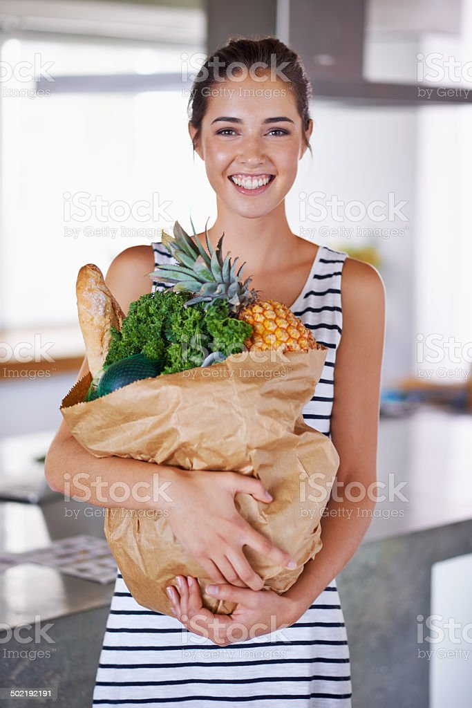 Healthy food keeps my smile bright stock photo