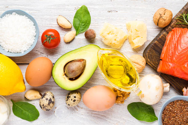 Healthy food low carb keto ketogenic diet. high omega 3, good fat and protein products on white wooden background Healthy food low carb keto ketogenic diet. high omega 3, good fat and protein products on white wooden background. top view ketogenic diet stock pictures, royalty-free photos & images