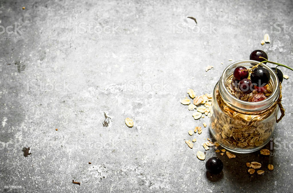 Healthy food. Muesli with black currant. royalty-free stock photo