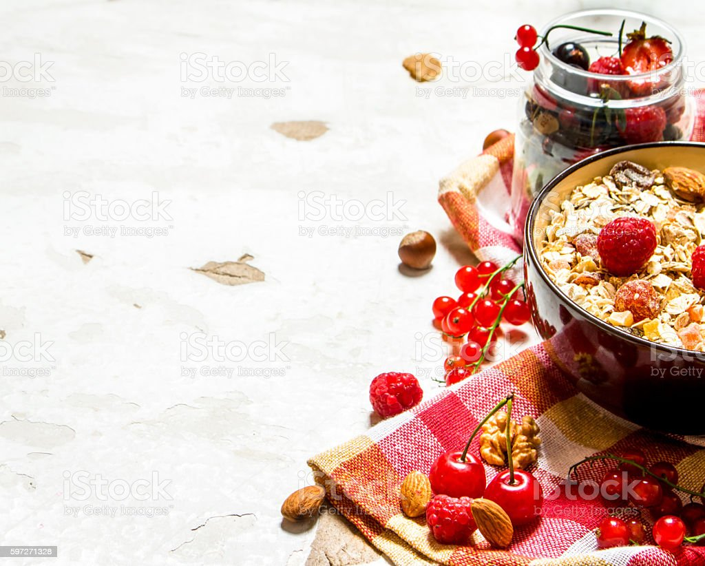 Healthy food. Muesli with forest wild berries. royalty-free stock photo