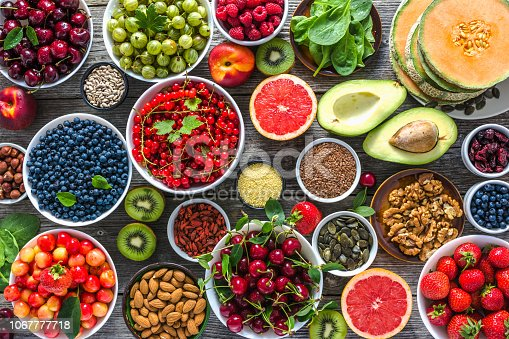 904734850istockphoto Healthy food on table. Breakfast in a bowls with assorted superfood, vegetarian diet with fruits, nuts and berries. 1067777718
