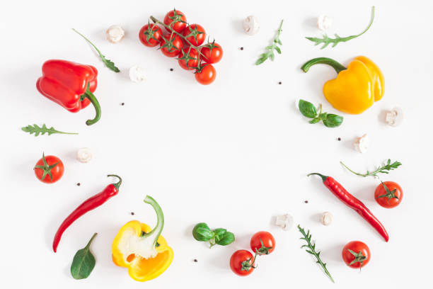 healthy food on white background. flat lay, top view - ingrediente foto e immagini stock