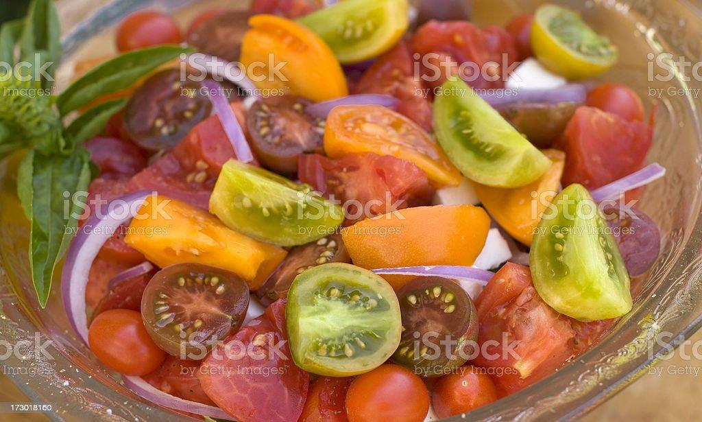 Healthy Food, Organic Homegrown Produce; Heirloom Tomato, Fresh Vegetable Salad stock photo