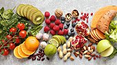 Healthy food. Selection of fruits, berries,vegetables, cereals and nuts for healthy eating concept.