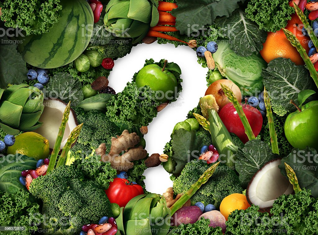 Healthy Food Question stock photo