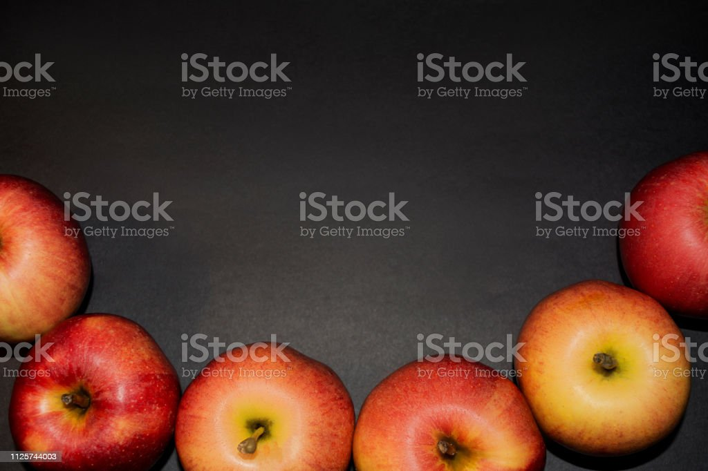 Healthy Food Ripe Red Apples On Black Background For Your