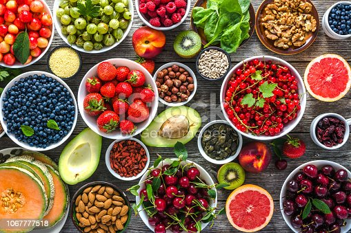904734850istockphoto Healthy food selection. Super foods for breakfast, bowls with organic fresh fruits, assorted berries, seeds and nuts on table. Vegetarian diet concept. 1067777518