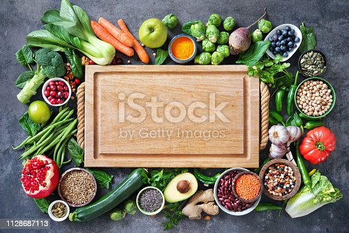 istock Healthy food selection with fruits, vegetables, seeds, super foods, cereals 1128687113