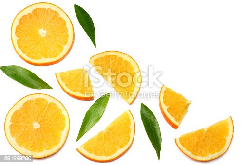 healthy food. sliced orange with green leaf isolated on white background top view