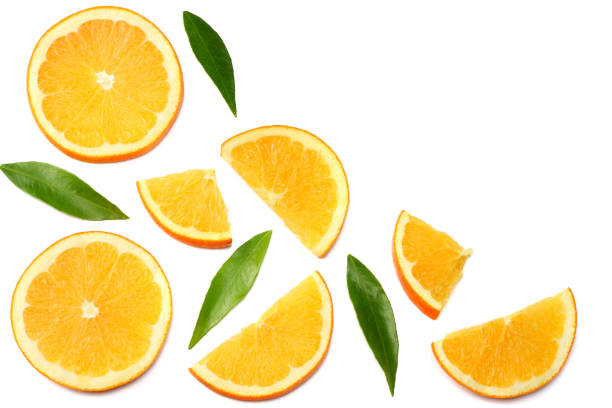 healthy food. sliced orange with green leaf isolated on white background top view - orange stock photos and pictures