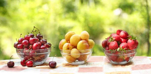 healthy food - strawberries and sweet cherry apricots fruit in bowl close up photo on green grass background with copy space - salud zdjęcia i obrazy z banku zdjęć