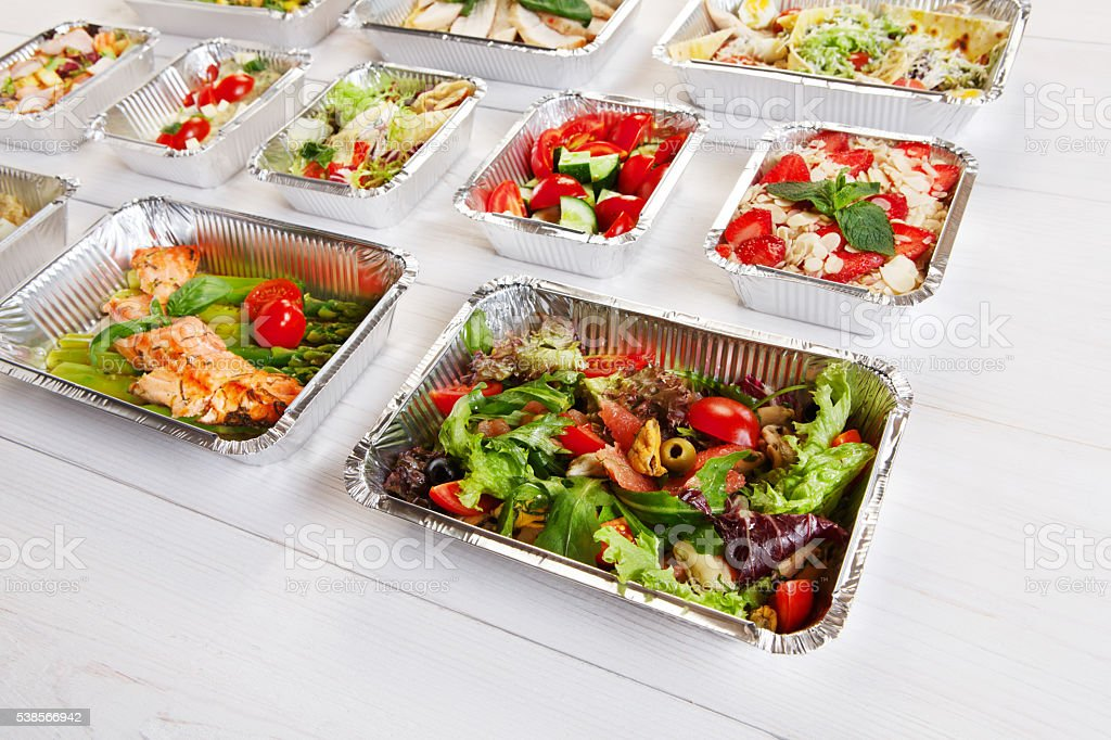 Healthy food take away in boxes, eating right stock photo