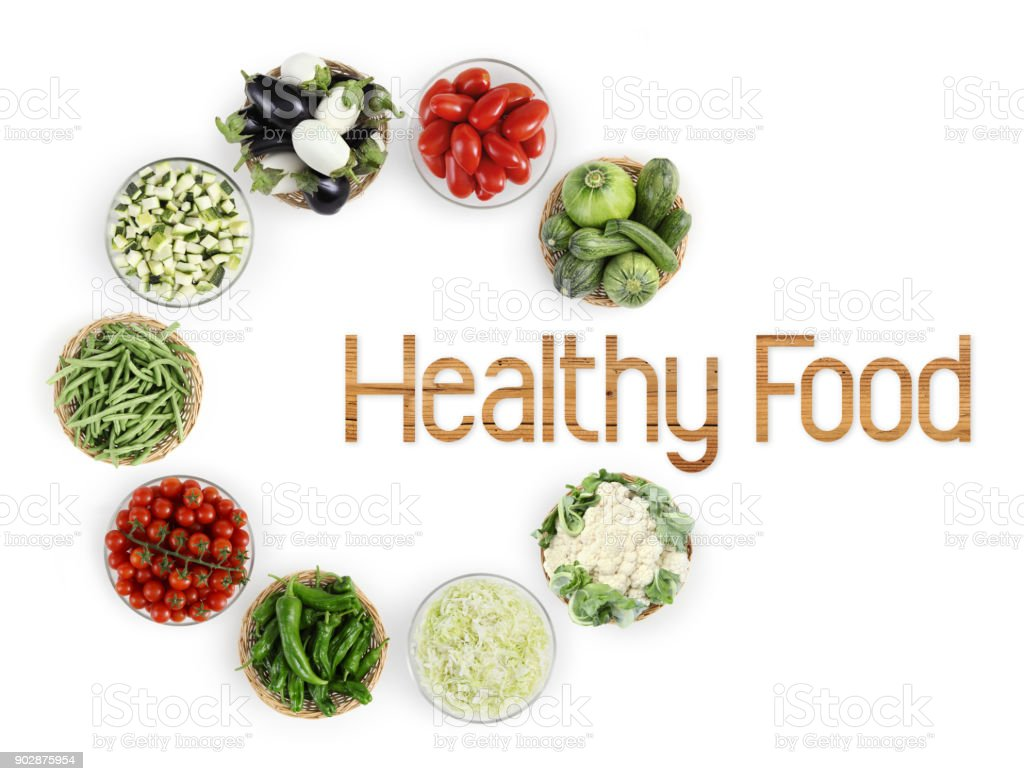 healthy food text top view vegetables isolated on white kitchen worktop, logo and copy space template stock photo