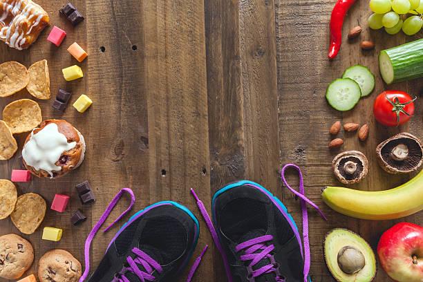 Gesundes Essen ungesund essen und Sport – Foto