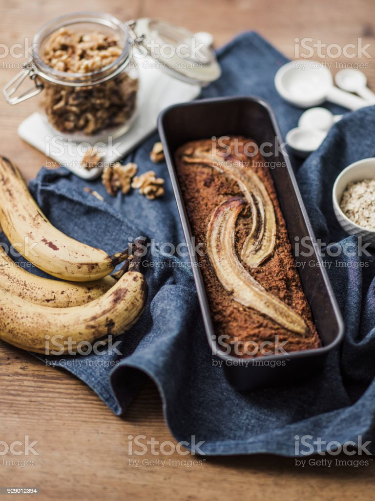 Healthy Food vegan banana bread and ingredients stock photo