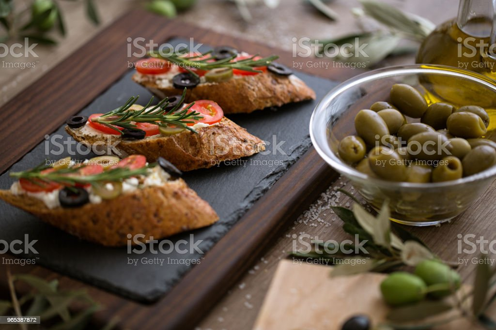 healthy food- vegetarian bruschetta zbiór zdjęć royalty-free