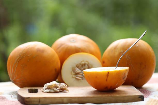 건강한 음식 - 전체 및 씨앗과 작은 술로 멜론을 잘라, 녹색 농장 배경에 부엌 보드 야외 사진 - salud 뉴스 사진 이미지
