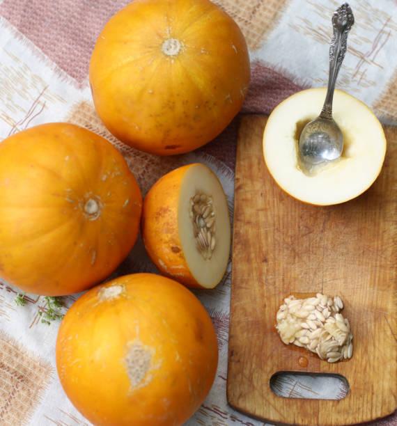 healthy food - whole and cut melon with seeds and teaspoon, kitchen board outdoor photo on green farm background - salud zdjęcia i obrazy z banku zdjęć