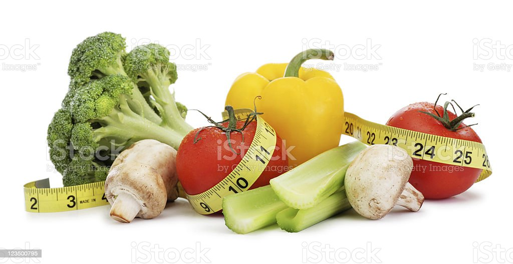 Healthy Food Wrapped in a Tape Measure royalty-free stock photo