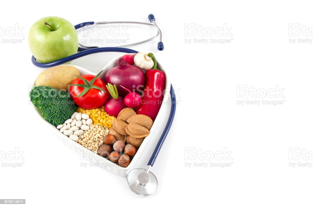 Healthy Foods and Stethoscope with Green Apple
