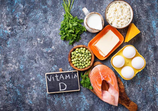 healthy foods containing vitamin d - vitamin d стоковые фото и изображения