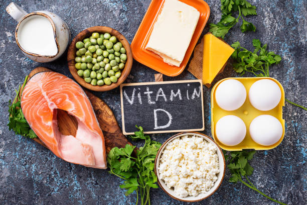 Healthy foods containing vitamin D Healthy foods containing vitamin D. Top view biological process stock pictures, royalty-free photos & images
